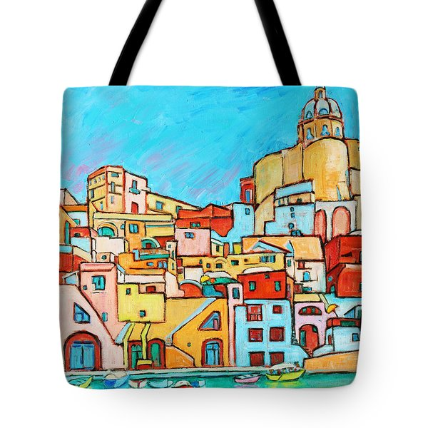 Boats In Front Of The Buildings Vii Tote Bag by Xueling Zou
