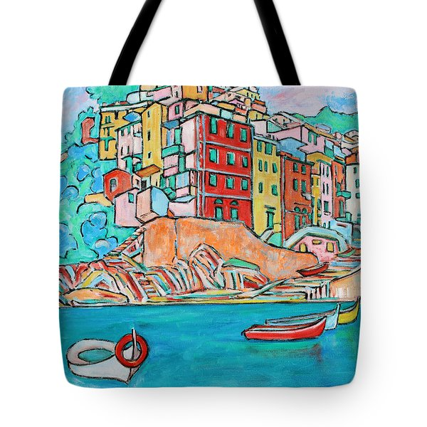 Boats In Front Of The Buildings X Tote Bag
