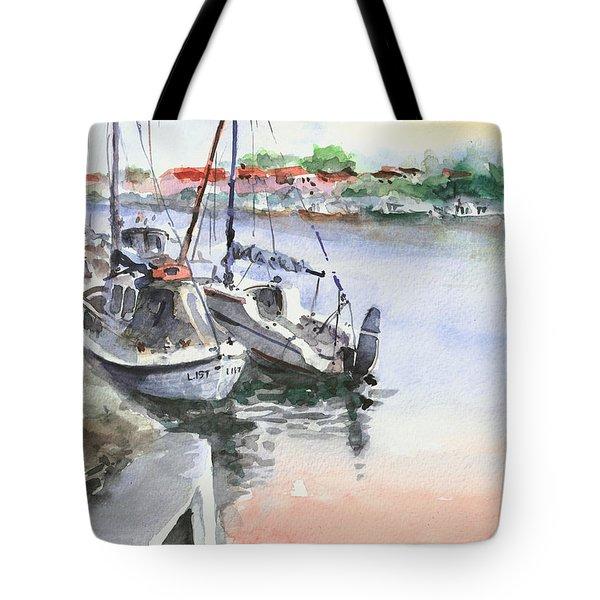 Boats Inshore Tote Bag by Faruk Koksal