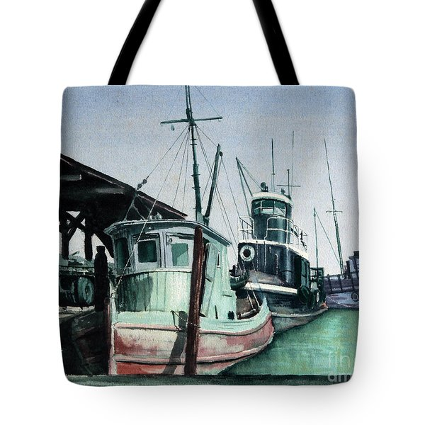 Tote Bag featuring the painting Boats by Joey Agbayani