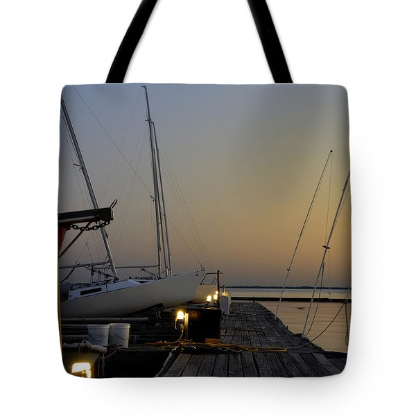 Boats Moored To Pier At Sunset Tote Bag
