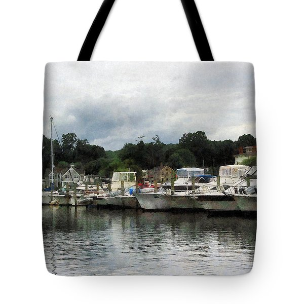 Tote Bag featuring the photograph Boats On A Cloudy Day Essex Ct by Susan Savad