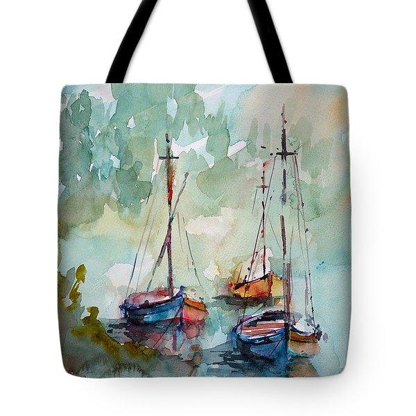 Boats On Lake  Tote Bag by Faruk Koksal