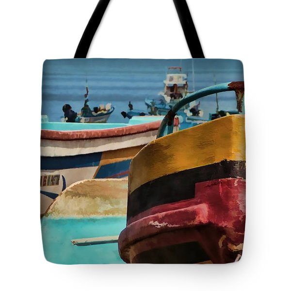 Boats On The Beach - Puerto Lopez - Ecuador Tote Bag