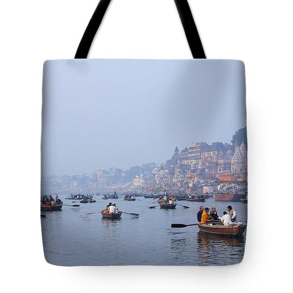 Boats On The River Ganges At Varanasi In India Tote Bag by Robert Preston