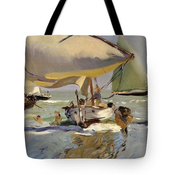 Boats On The Shore Tote Bag by Joaquin Sorolla y Bastida