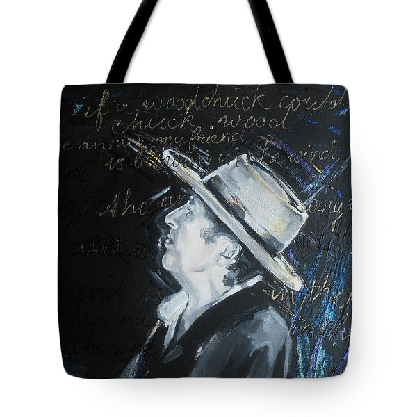Bob Dylan - Blowing In The Wind Tote Bag by Lucia Hoogervorst