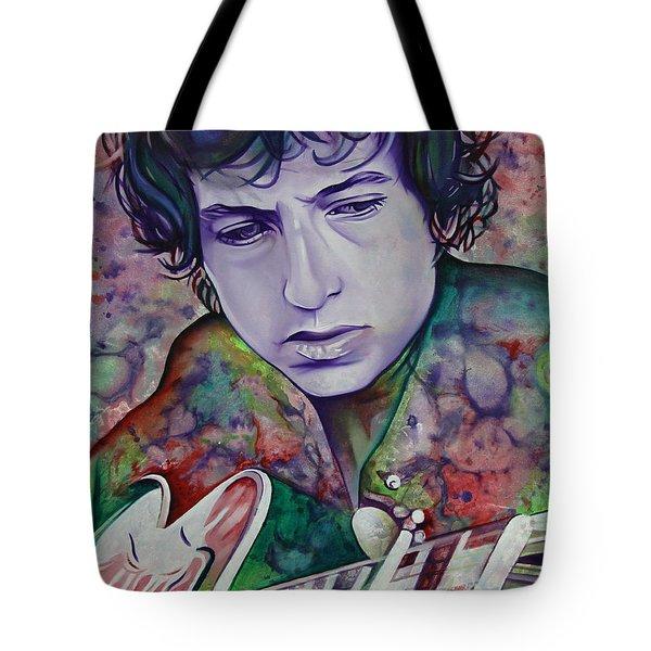 Bob Dylan-pink And Green Tote Bag by Joshua Morton
