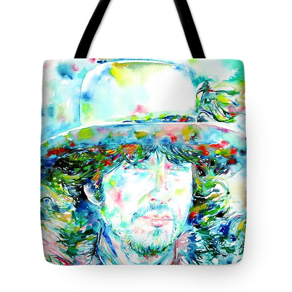 Bob Dylan - Watercolor Portrait.2 Tote Bag by Fabrizio Cassetta