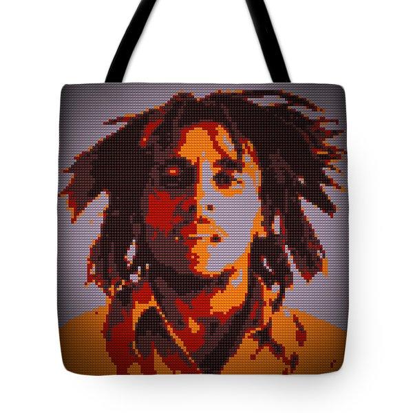 Bob Marley Lego Pop Art Digital Painting Tote Bag by Georgeta Blanaru