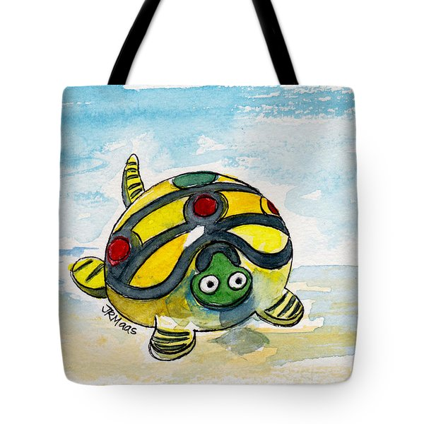 Tote Bag featuring the painting Bobblehead Turtle by Julie Maas