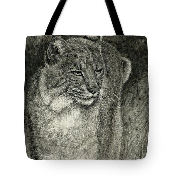 Tote Bag featuring the drawing Bobcat Emerging by Sandra LaFaut