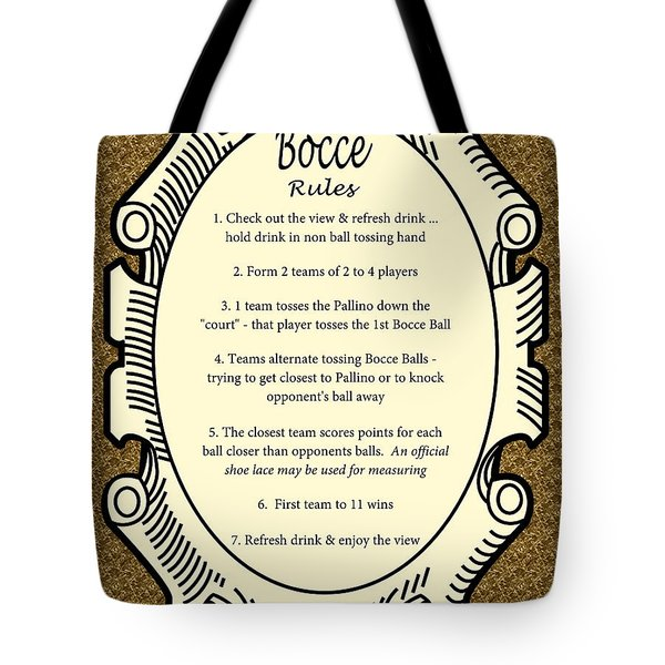 Bocce Tote Bag by Nancy Patterson