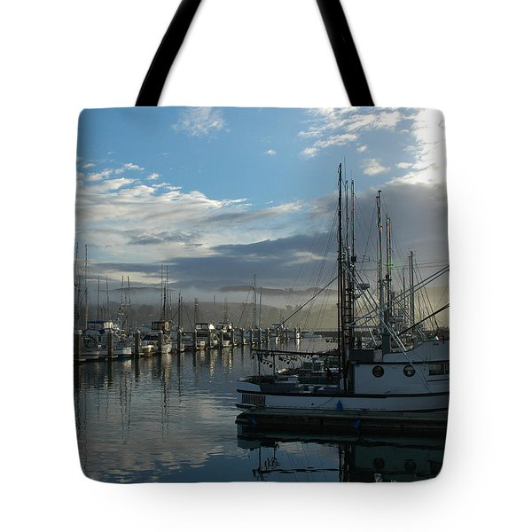 Tote Bag featuring the drawing Bodega Fishing Boats by Dianne Levy
