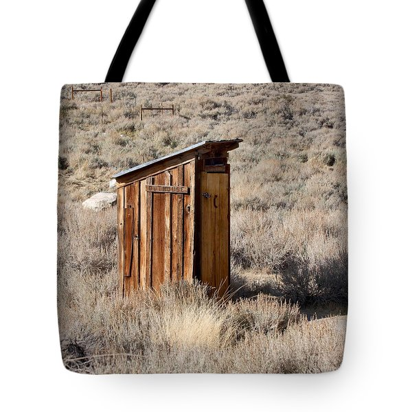 Tote Bag featuring the photograph Bodie Outhouse by Art Block Collections