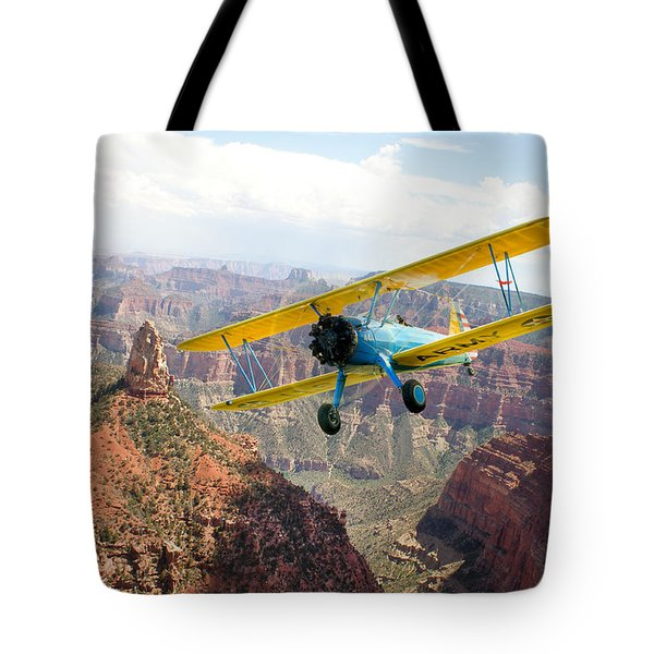 Boeing Stearman At Mount Hayden Grand Canyon Tote Bag by Gary Eason