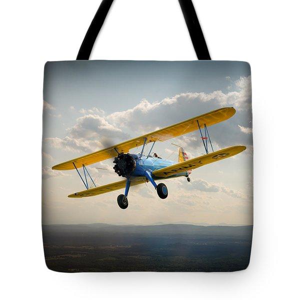 Boeing Stearman Trainer In Flight  Tote Bag by Gary Eason