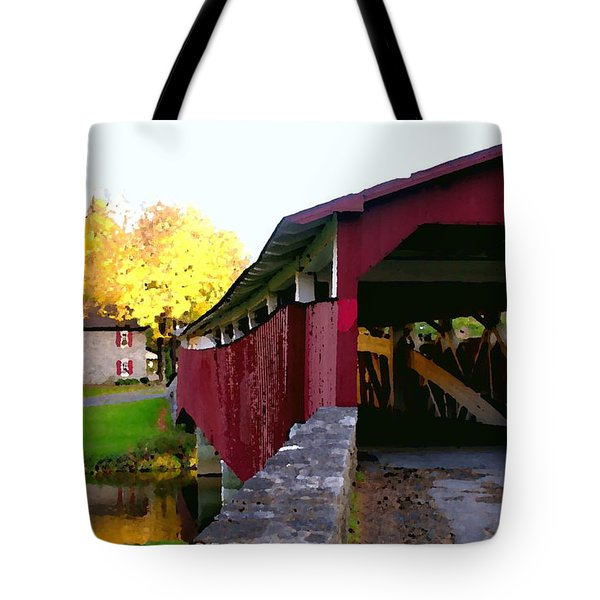 Tote Bag featuring the photograph Bogerts Covered Bridge Allentown Pa by Jacqueline M Lewis