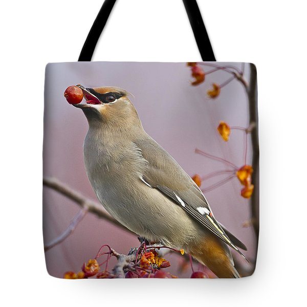 Bohemian Waxwing With Fruit Tote Bag