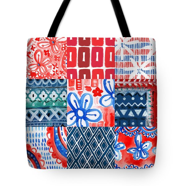 Boho Americana- Patchwork Painting Tote Bag