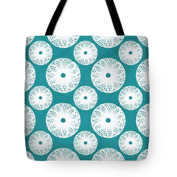 Boho Floral Blue And White Tote Bag by Linda Woods