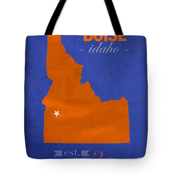 Boise State University Broncos Boise Idaho College Town State Map Poster Series No 019 Tote Bag by Design Turnpike