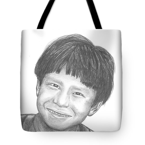Tote Bag featuring the drawing Bolivian Jungle Child by Lew Davis