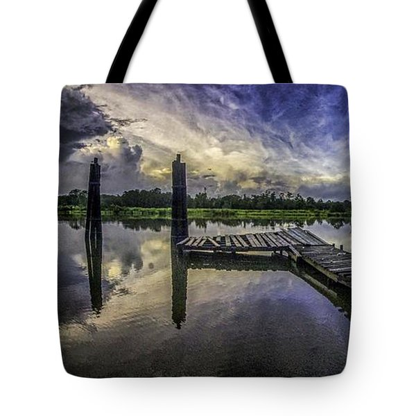 Tote Bag featuring the digital art Bon Secour Panorama by Michael Thomas