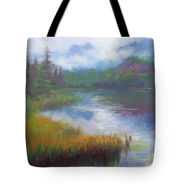 Bonnie Lake - Alaska Misty Landscape Tote Bag