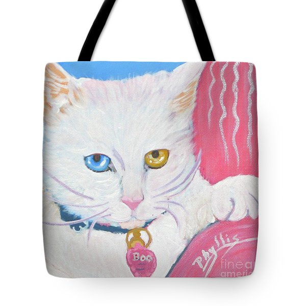 Tote Bag featuring the painting Boo Kitty by Phyllis Kaltenbach
