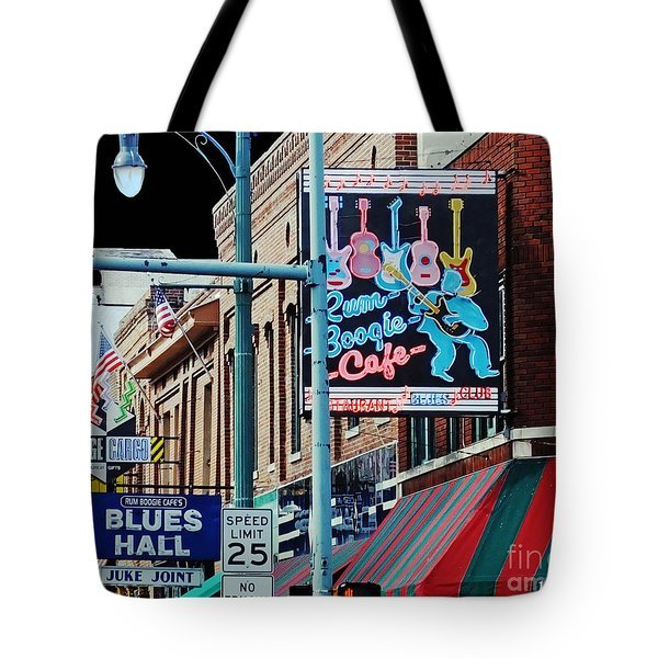 Boogie On Beale St Memphis Tn Tote Bag