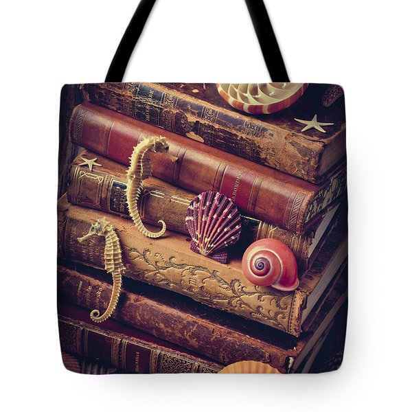 Books And Sea Shells Tote Bag