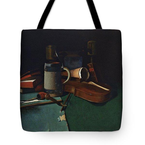 Books Mug Pipe And Violin Tote Bag
