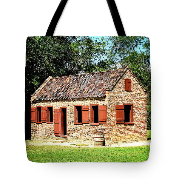 Tote Bag featuring the photograph Boone Hall Plantation Slave Quarters by Greg Simmons