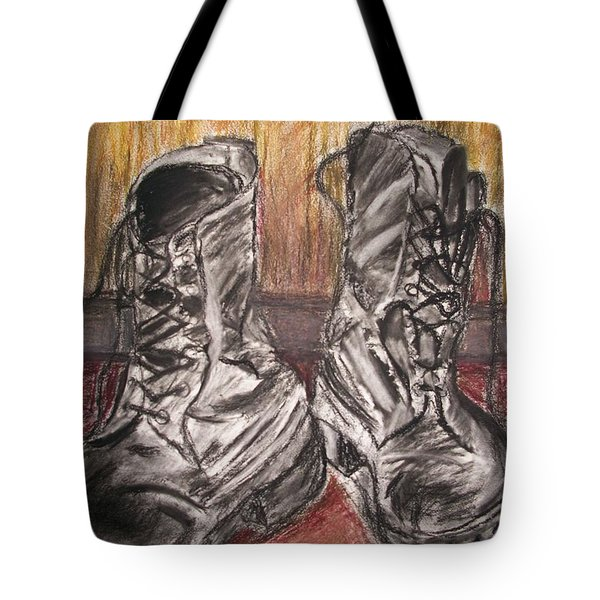 Boots In The Hall Way Tote Bag