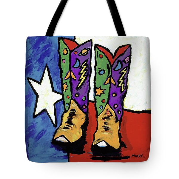 Boots On A Texas Flag Tote Bag