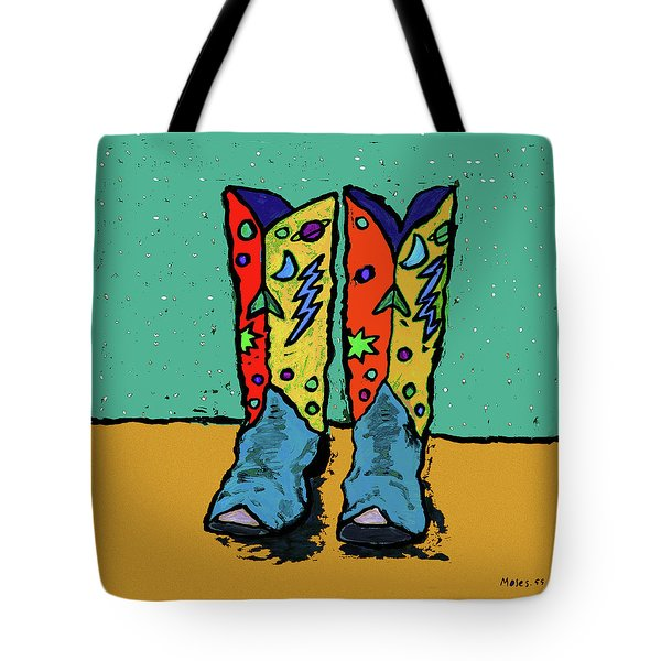 Boots On Teal Tote Bag