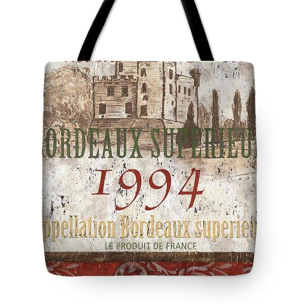 Bordeaux Blanc Label 2 Tote Bag by Debbie DeWitt