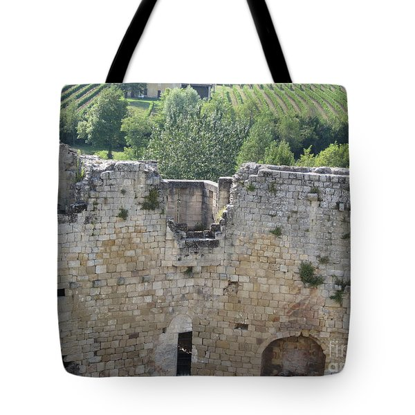 Tote Bag featuring the photograph Bordeaux Castle Ruins With Vineyard by HEVi FineArt
