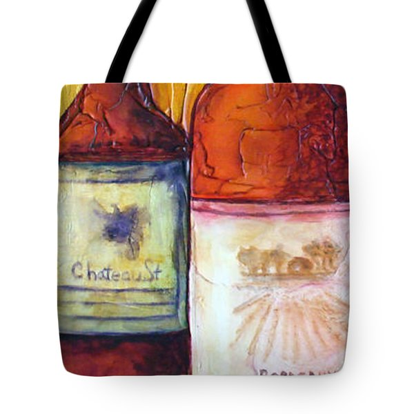 Tote Bag featuring the mixed media Bordeaux Vino by Phyllis Howard