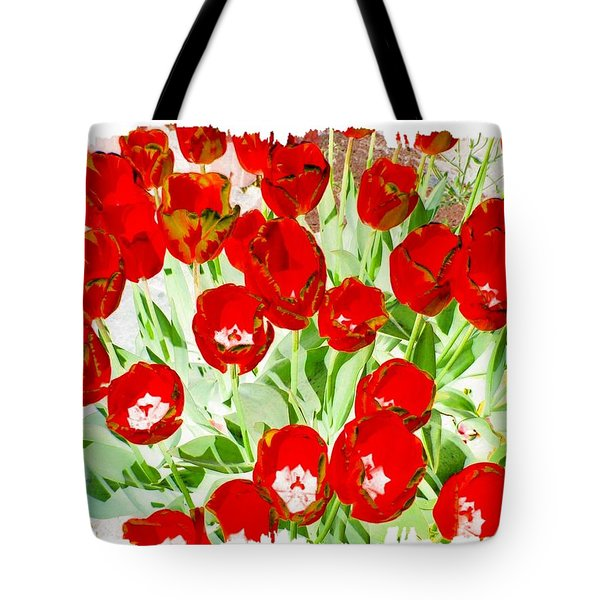 Bordered Red Tulips Tote Bag by Will Borden