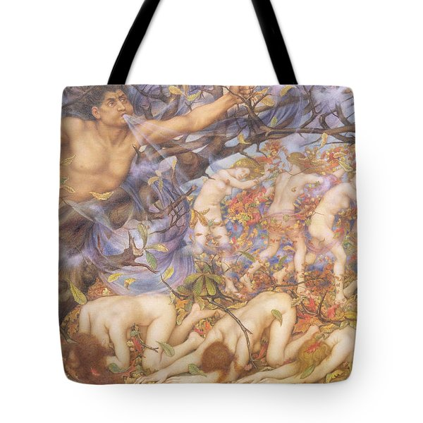 Boreas And Fallen Leaves Tote Bag by Evelyn De Morgan