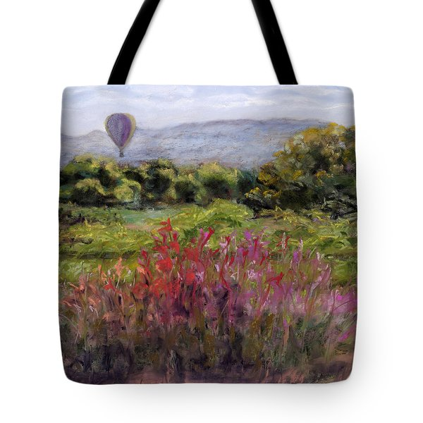 Tote Bag featuring the painting Bosque Balloon View by Julie Maas