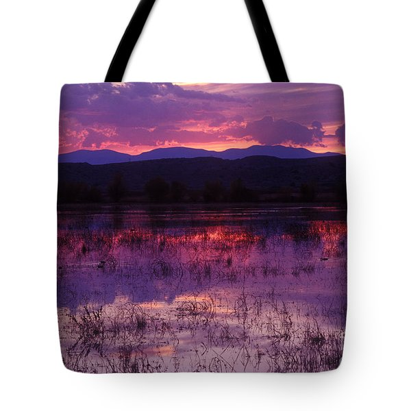 Bosque Sunset - Purple Tote Bag by Steven Ralser