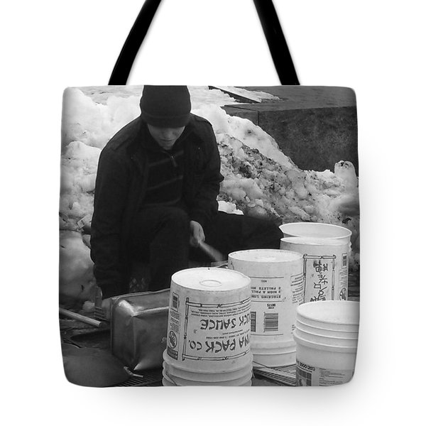 Boston Bucket Man Tote Bag by Paulo Guimaraes