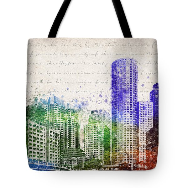 Boston City Skyline Tote Bag by Aged Pixel
