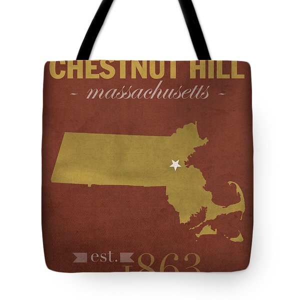 Boston College Eagles Chestnut Hill Massachusetts College Town State Map Poster Series No 020 Tote Bag by Design Turnpike