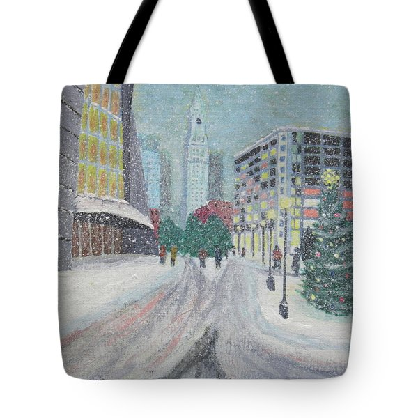 Boston First Snow Tote Bag