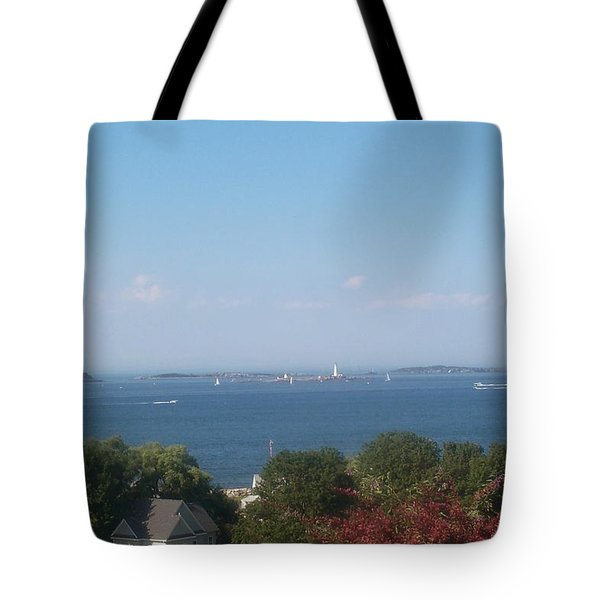 Tote Bag featuring the photograph Boston Harbor From Hull by Barbara McDevitt
