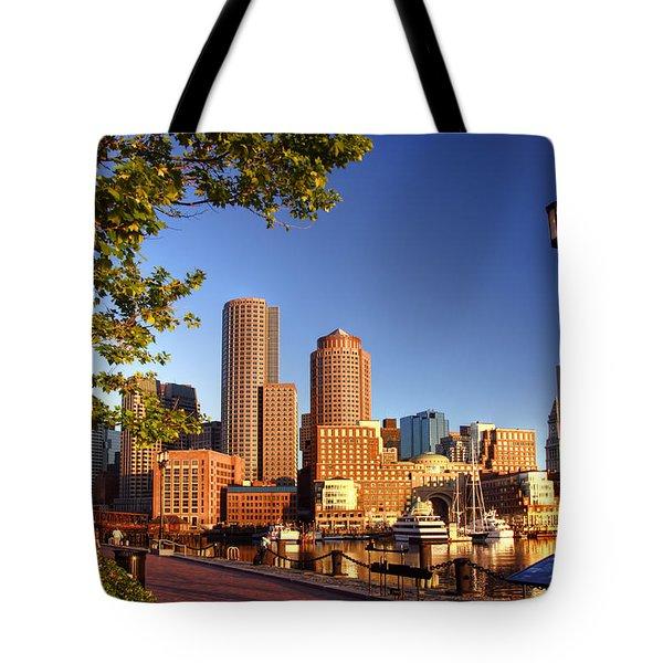 Boston Harbor Sunrise Tote Bag by Joann Vitali
